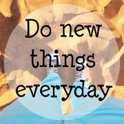 Desert sand with text: Do new things everyday Stock Photos