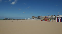 Looking across the beach of Margate Main Sands Stock Footage