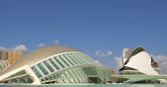 Hemispheric and Reina (Queen) Sofia Palace of Arts of City of Arts and Sciences Stock Footage