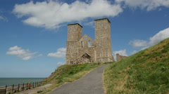 Tourists visting the Reculver Towers Stock Footage