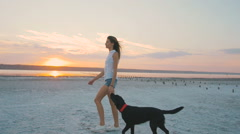 Young female playing with labrador retriever dog on the beach at sunset, slowmo Stock Footage
