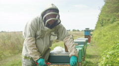 4K Portrait smiling bee keeper holding honeycomb from the hive Stock Footage