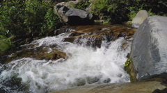 Clear Water Of Oak Creek Flowing In Narrow Channel Tilt- Sedona AZ Stock Footage