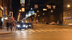 St. Petersburg city at night time-lapse photography, view of Trinity Cathedra Stock Footage