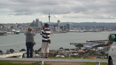 Auckland from Devenport with tourists Stock Footage