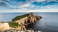 Neist Point Lighthouse Sunset Stock Footage
