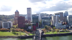 Aerial Portland bay area and Hawthorne bridge at Willamette river Stock Footage