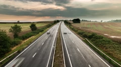 Traffic on Rural Motorway -Dual Lane Carriageway Stock Footage