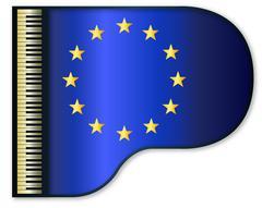 Grand Piano Europe Flag Stock Illustration