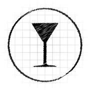 Martini glass icon. Internet button on white background.. Stock Illustration