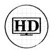 HD TV icon. Internet button on white background.. Stock Illustration