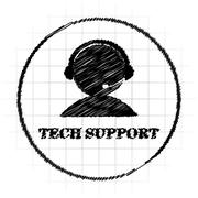 Tech support icon. Internet button on white background.. Stock Illustration