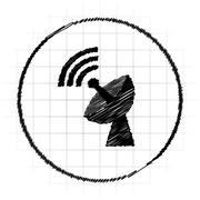 Wireless antenna icon. Internet button on white background.. Stock Illustration