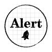 Alert icon. Internet button on white background.. Stock Illustration