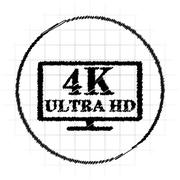 4K ultra HD icon. Internet button on white background.. Stock Illustration