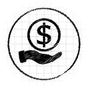 Money in hand icon. Internet button on white background.. Stock Illustration