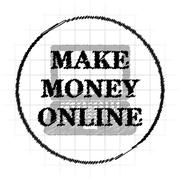 Make money online icon. Internet button on white background.. Stock Illustration