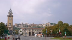 Bergamo Alta seen from the lower city Stock Footage
