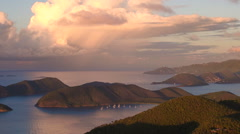 Aerial sunset over Francis Bay, St John Stock Footage