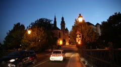 Luxembourg City at night Stock Footage