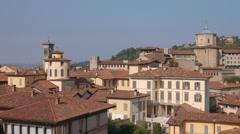 Aerial view of Bergamo Alta, Italy Stock Footage