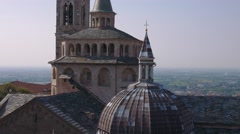 Aerial panoramic view of Bergamo, Italy Stock Footage