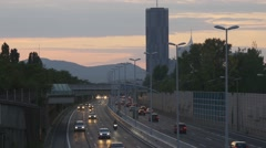 Multiple lane motorway in evening Stock Footage