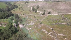 Beit She'an - Nahal Harod - Ruins of an antique brige (Israel aerial footage) Stock Footage