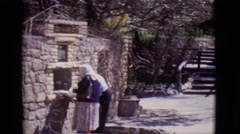 1965: a beautiful garden with plants and various rock walls and multiple levels Stock Footage
