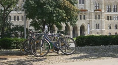 Ecological transportation. Bicycle parking Stock Footage