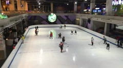 Indoor ice skate in  Central Festival Chiangmai. Stock Footage
