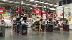 Cashier Counter of Makro supermarket Stock Footage