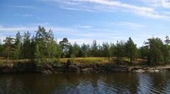 Rocky coast of the island of Valaam in Russia Stock Footage