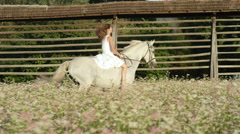 SLOW MOTION: Innocent young woman riding white horse in pink blossoming field Stock Footage