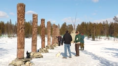 Tourists visit the Sami worship idols in the spring. Editorial use. Stock Footage