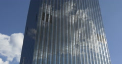 Cloud reflecting in high-rise building Stock Footage