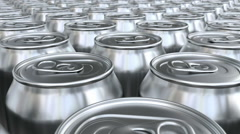 Blank soda cans 3D animation seamless loop Stock Footage