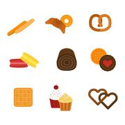 Vector fresh baked bread products icons Stock Illustration
