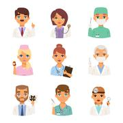 Doctors spetialists faces vector set Piirros
