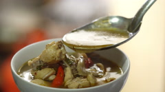 Chicken soup or tom yum in bowl,Thai food Stock Footage
