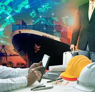 Working man and investor against container ship in port use for import export Stock Photos