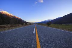 Asphalt highway in aspiring national park south island new zealand Stock Photos
