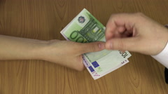 Illegal payment for work. Hand give euro banknotes. 4K Stock Footage