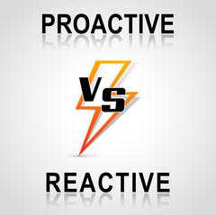 Decision between proactive and reactive Stock Illustration