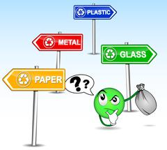 Difficulty sorting its waste Stock Illustration