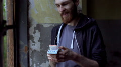Thief checks booty and feels very happy about that, steadycam shot Stock Footage