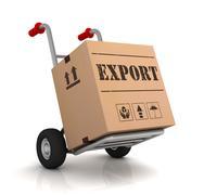 Export hand truck concept  3d illustration Stock Illustration