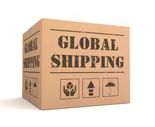 Global shipping cardboard box concept  3d illustration Stock Illustration