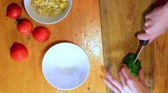 Slicing green pepper. Top down view. Stock Footage