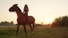 LOW ANGLE VIEW: Happy young girl on mighty horse riding on early sunny morning Stock Footage